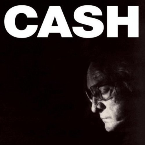 album cover of American IV: The Man Comes Around showing Johnny Cash's profile in black and white