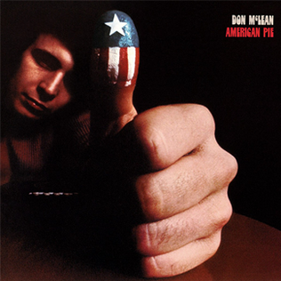 album cover of American Pie with Don McClean giving a thumbs up, while his thumb has the American flag with one star painted on it