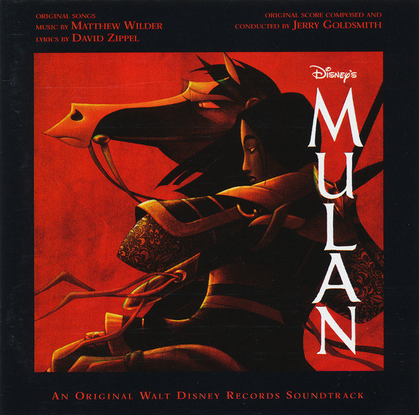 album cover of Mulan showing Mulan riding her horse