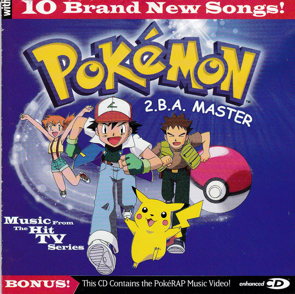album cover of Pokemon 2.B.A. Master showing Ash, Misty, Brock, and Pikachu running forward