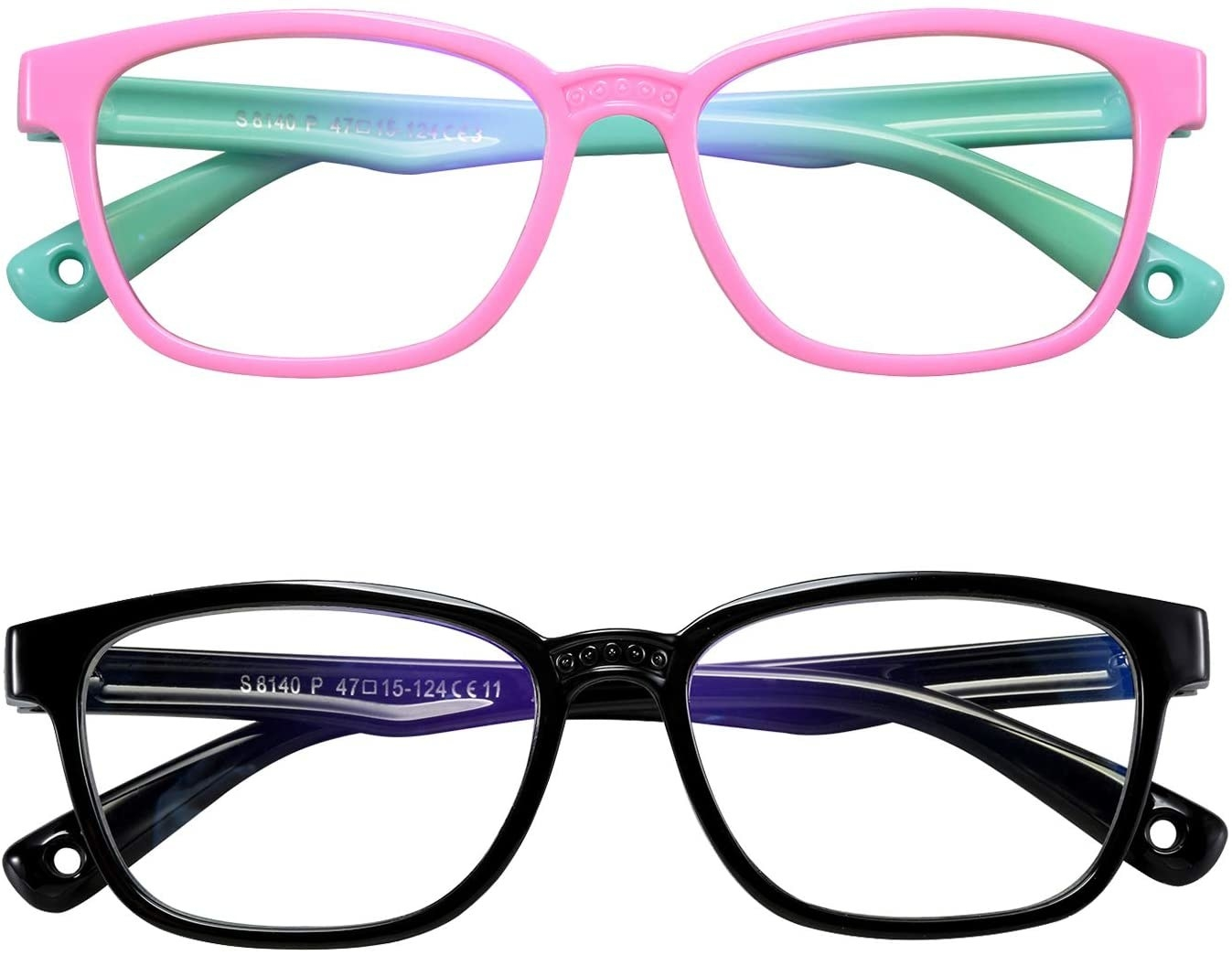 Two glasses. the pair on top is pink and green and the pair on the bottom is black and dark blue