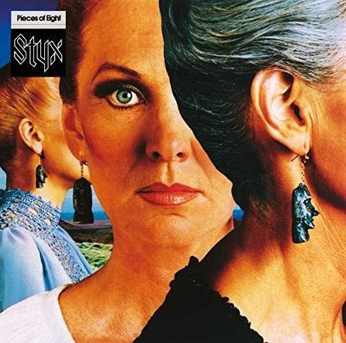 album cover of Pieces of Eight with a woman facing the viewer while her right eye is covered by the profile of another woman's head