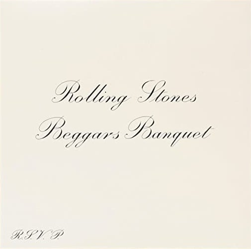 album cover of Beggars Banquet with the name of the album and band written in cursive