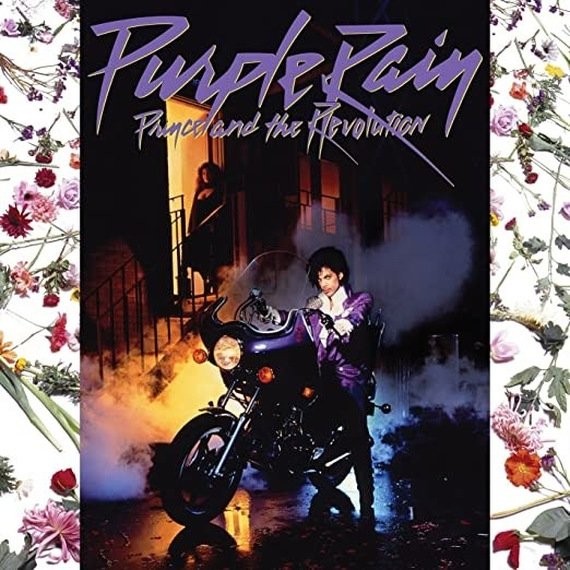 album cover of Purple Rain showing Prince standing with his motorcycle as Apollonia watches from an open door in the background