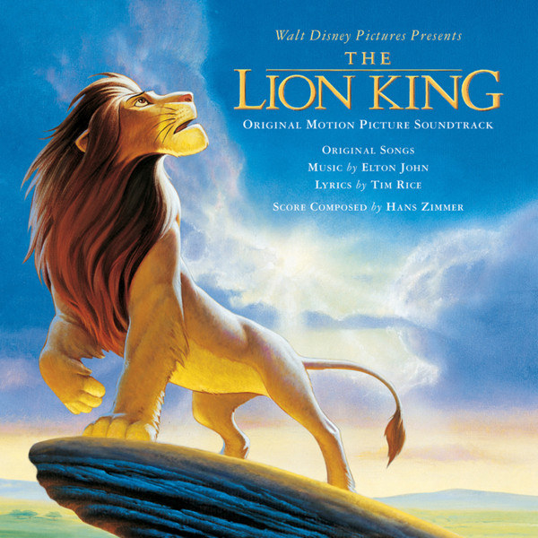 album cover of The Lion King with Simba looking up into the sky from Pride Rock