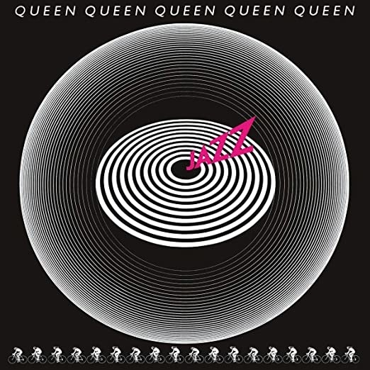 album cover of Jazz with concentric circles and repeating figures on bicycles across the bottom