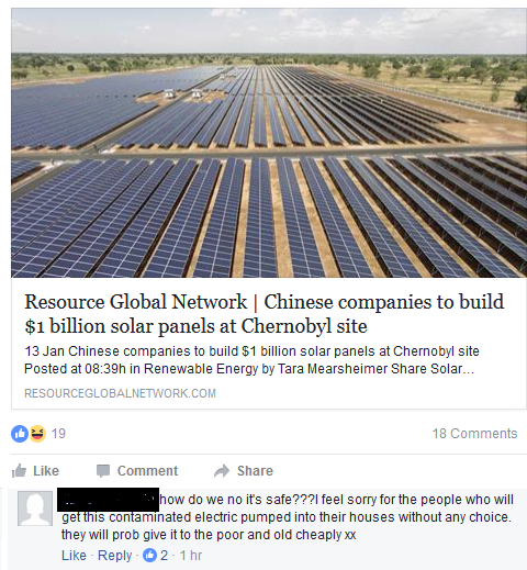 """A Facebook post about news story about Chinese companies building solar panels at the Chernobyl site and a comment below saying that people will get """"contaminated electric"""""""