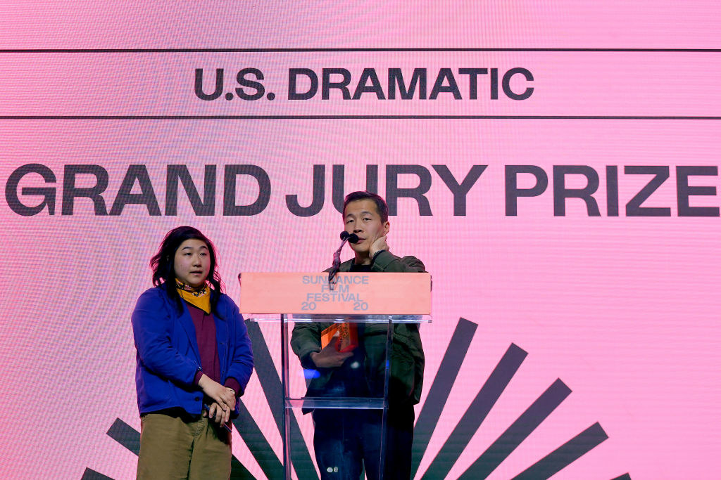 """Christina Oh and Lee Isaac Chung of """"Minari"""" speaks onstage during the 2020 Sundance Film Festival Awards"""