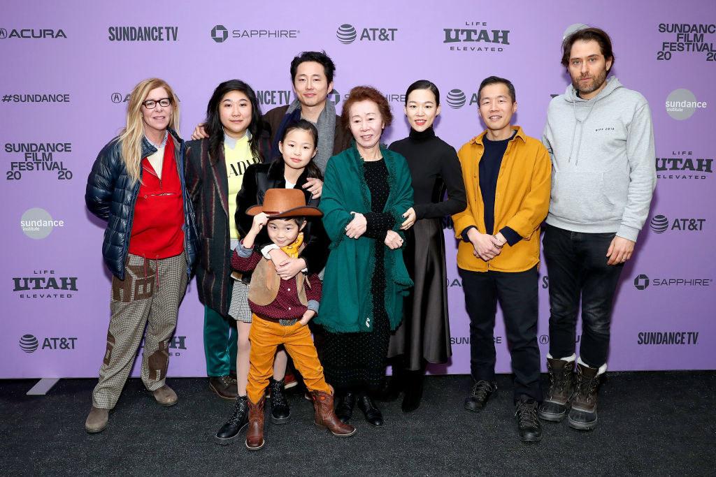 The cast of Minari on a red carpet at Sundance