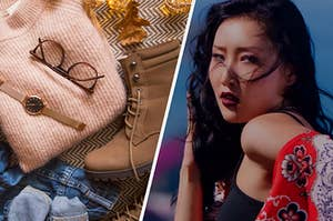 An image of a flat lay of clothing including boots and a sweater and glasses next to an image of Hwasa from Mamamoo