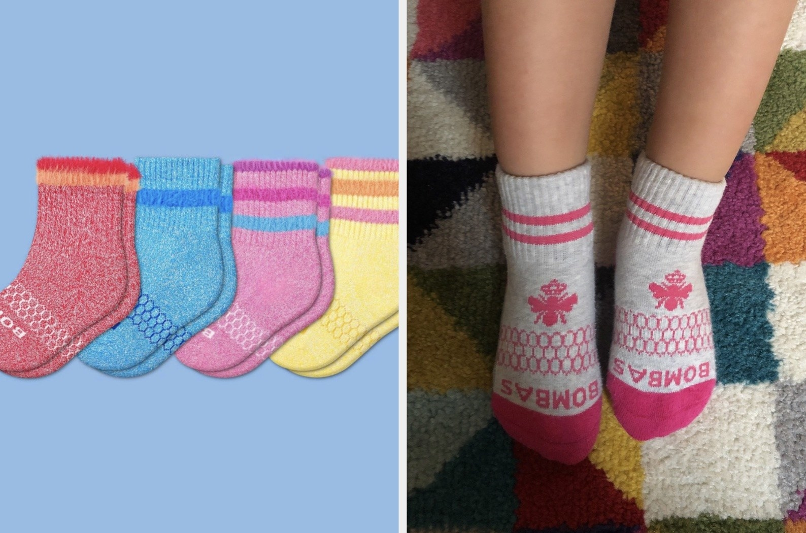 Four pairs of toddler socks in red, blue, pink, and yellow / The socks on toddler feet with a bee printed on top