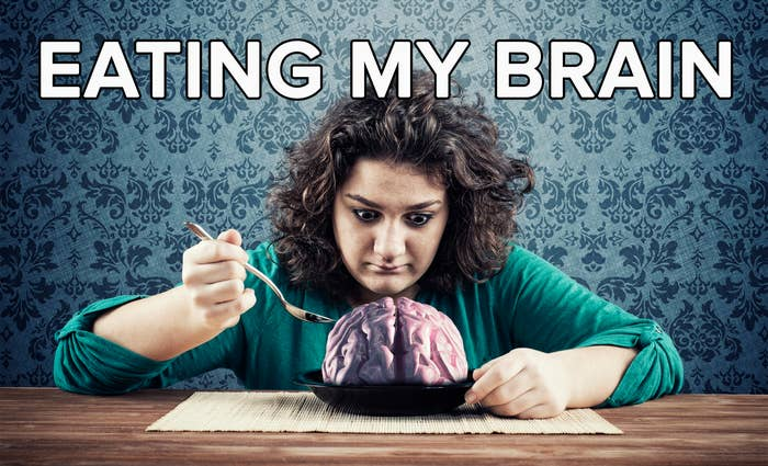 An exasperated woman eats a bowl of what is supposed to be human brain