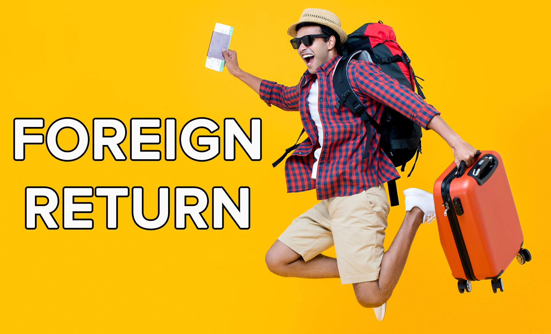 A man excitedly jumps while holding on to his suitcase and airplane ticket