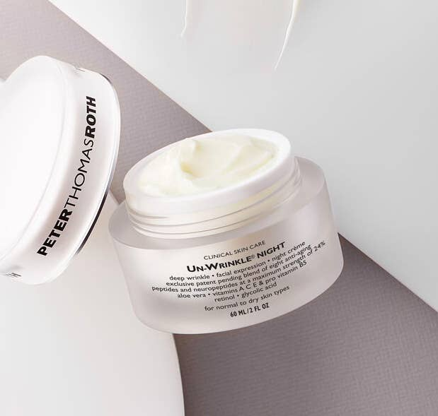 Peter Thomas Roth Un-Wrinkle Night Cream in a clear white container
