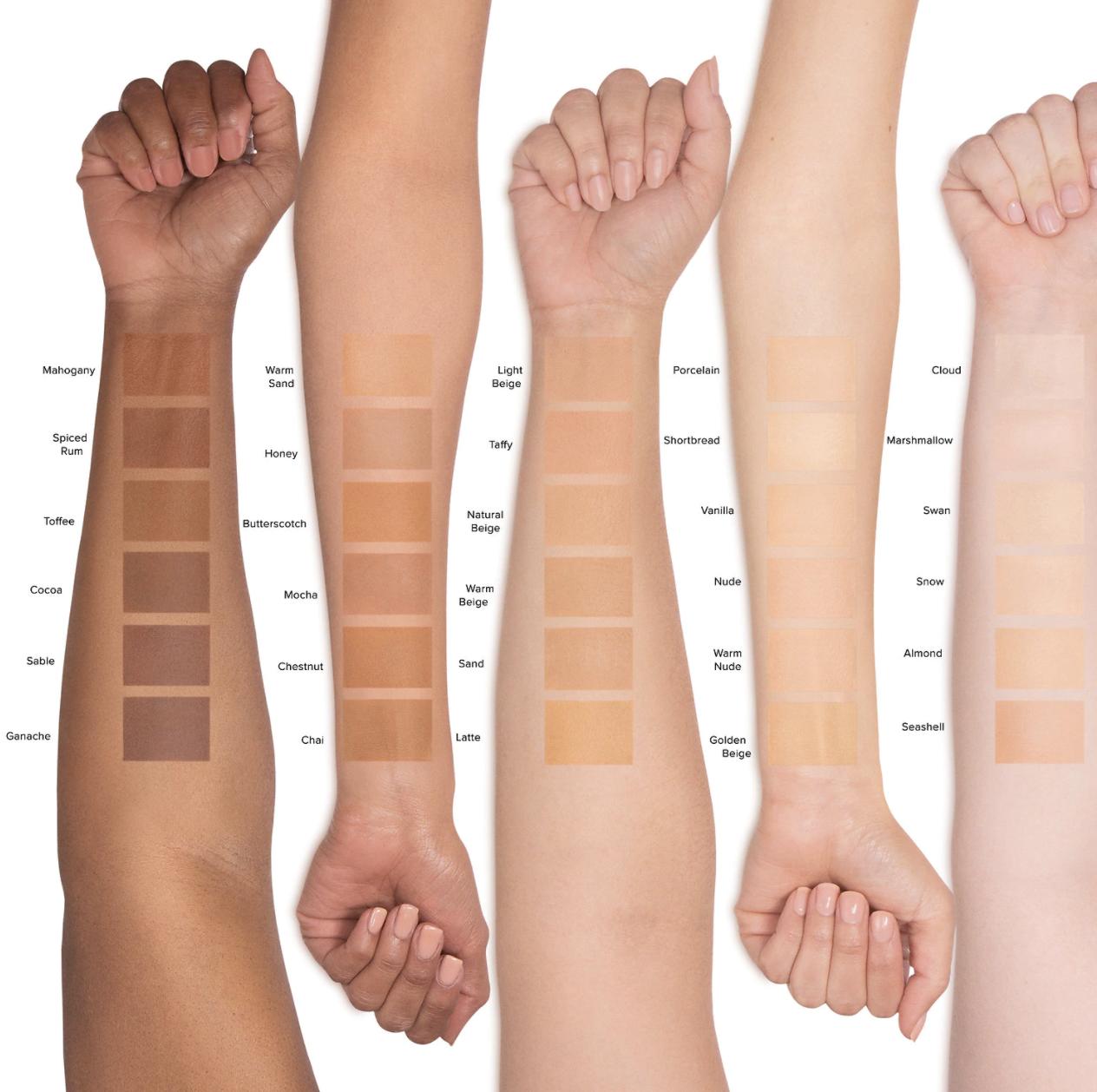 Light, medium, and deep foundation swatches across light, medium, and deep skin tones