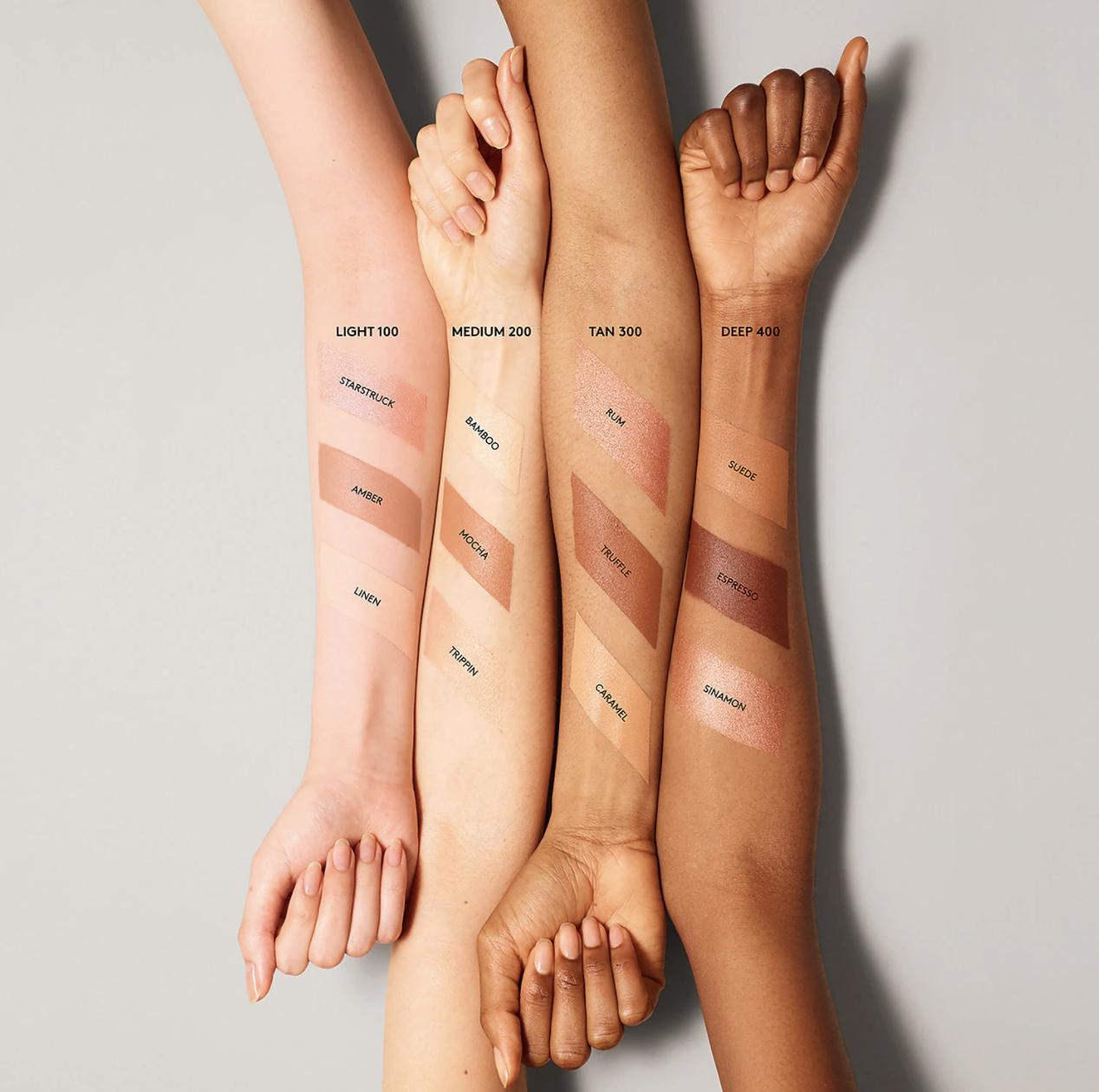 Light, medium, and deep stick swatches across light, medium, and deep skin tones