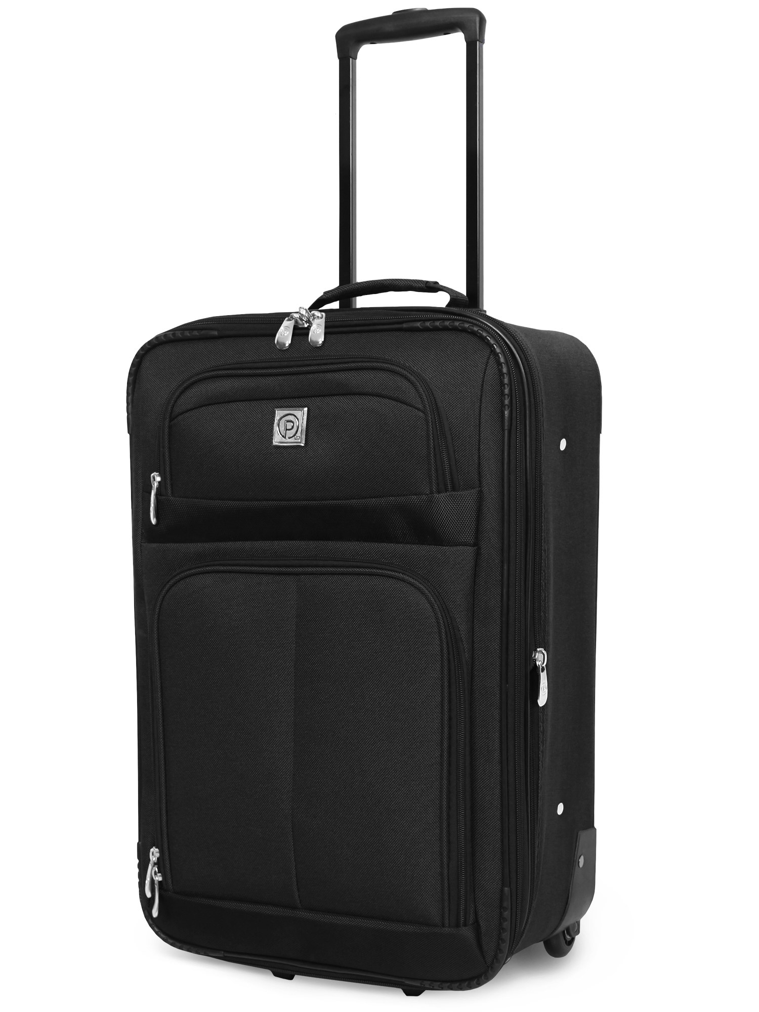 black upright rolling luggage