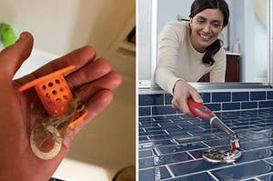On the left, reviewer uses orange TubShroom to remove hair from a drain. On the right, model uses red power scrubber to clean blue bathroom tiles