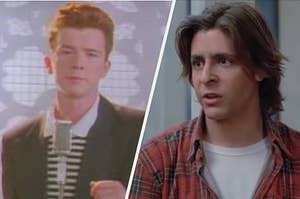 """On the left, Rick Astley in the """"Never Gonna Give You Up"""" music video, and on the right, Judd Nelson as Bender in """"The Breakfast Club"""""""