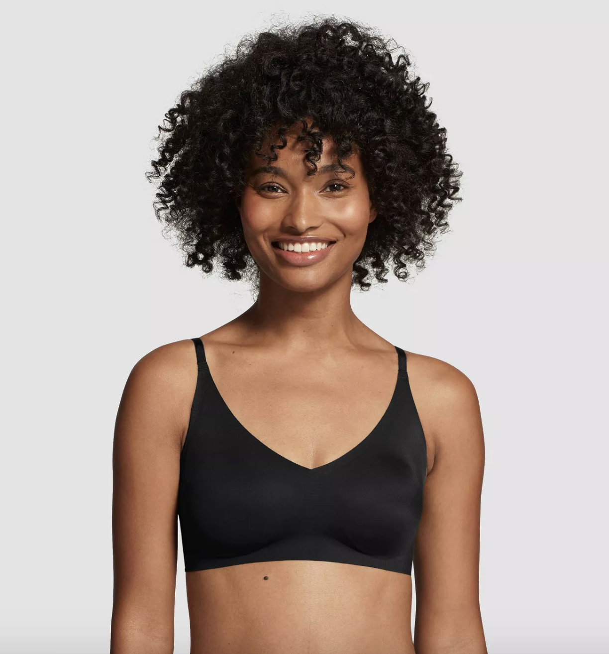 model wearing the black V-neck bralette