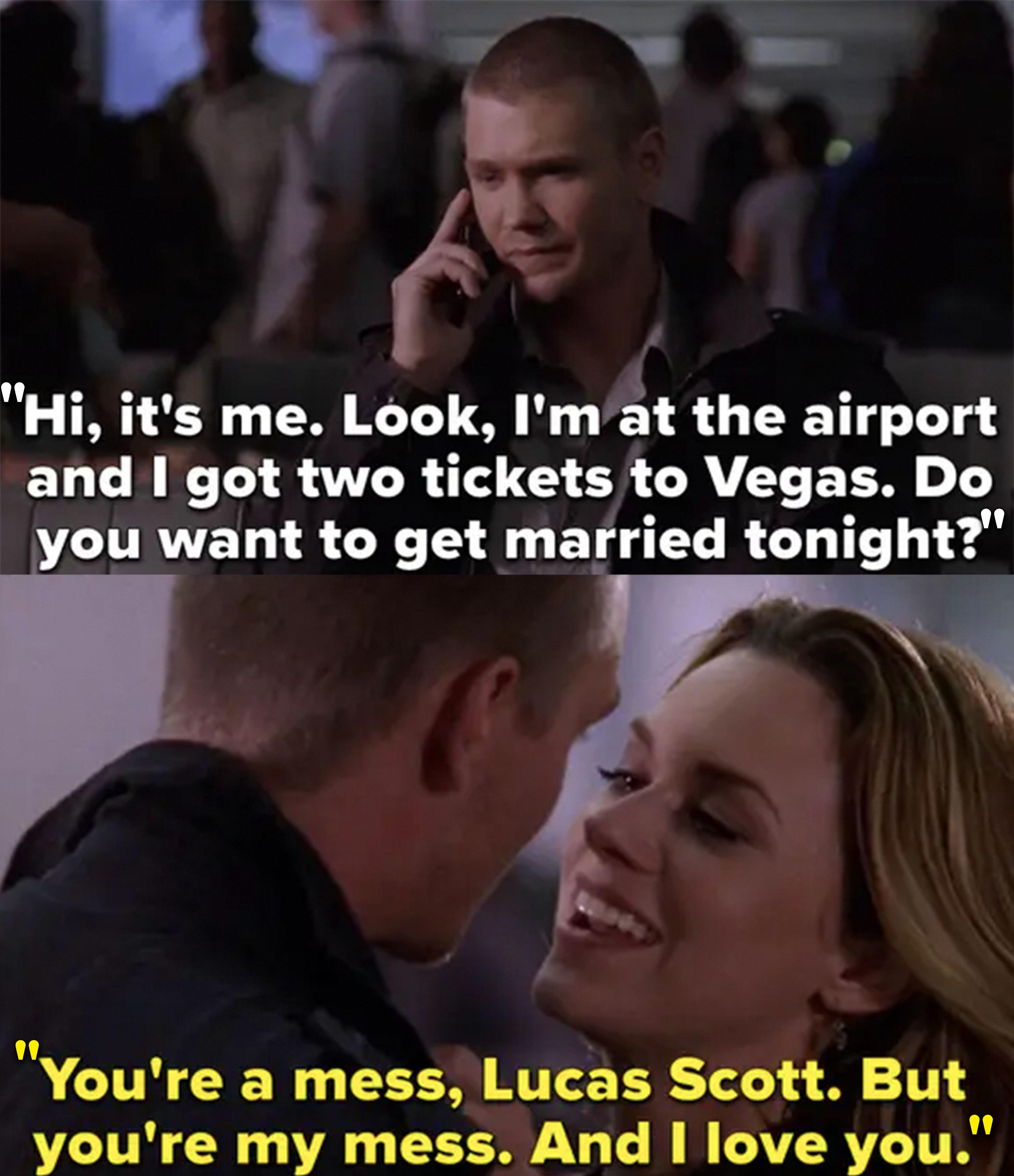 Lucas spontaneously asks Peyton to elope with him in Vegas