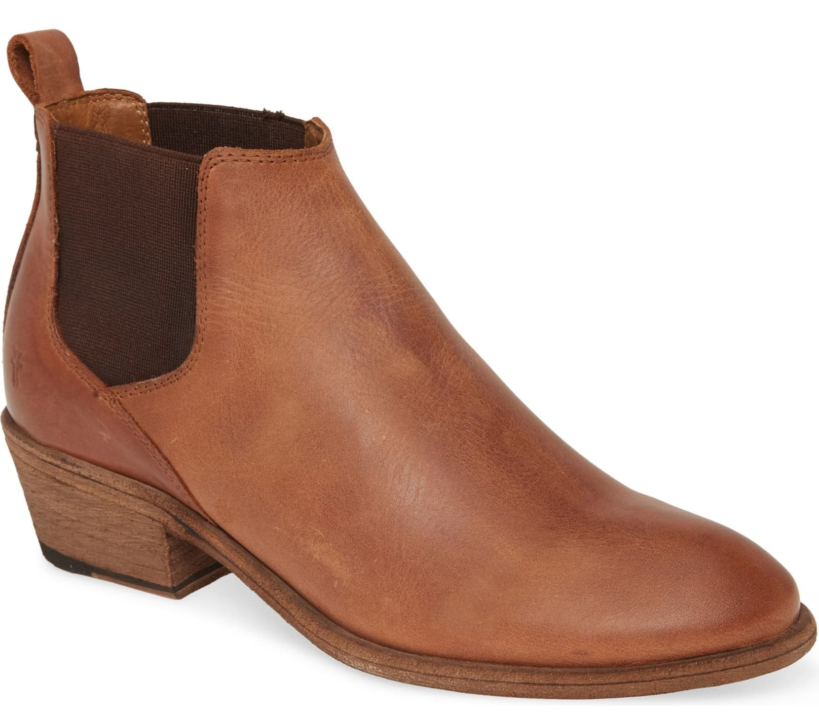 The Chelsea-style boot in a cognac brown color