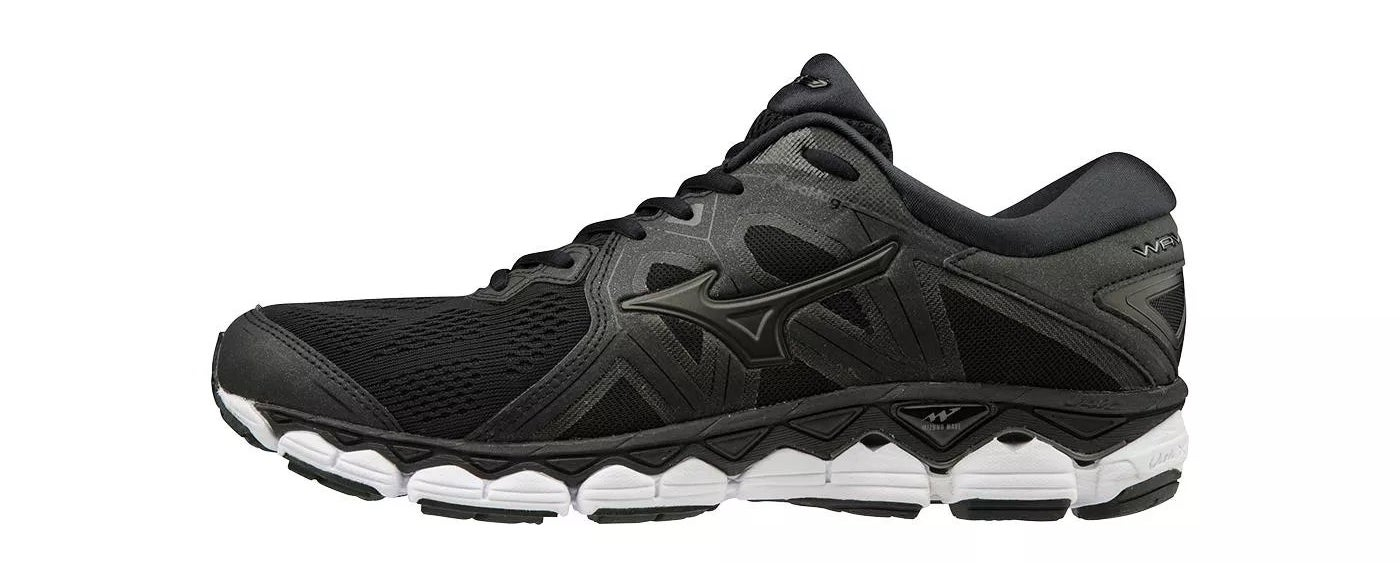 A black pair of Mizuno running shoes