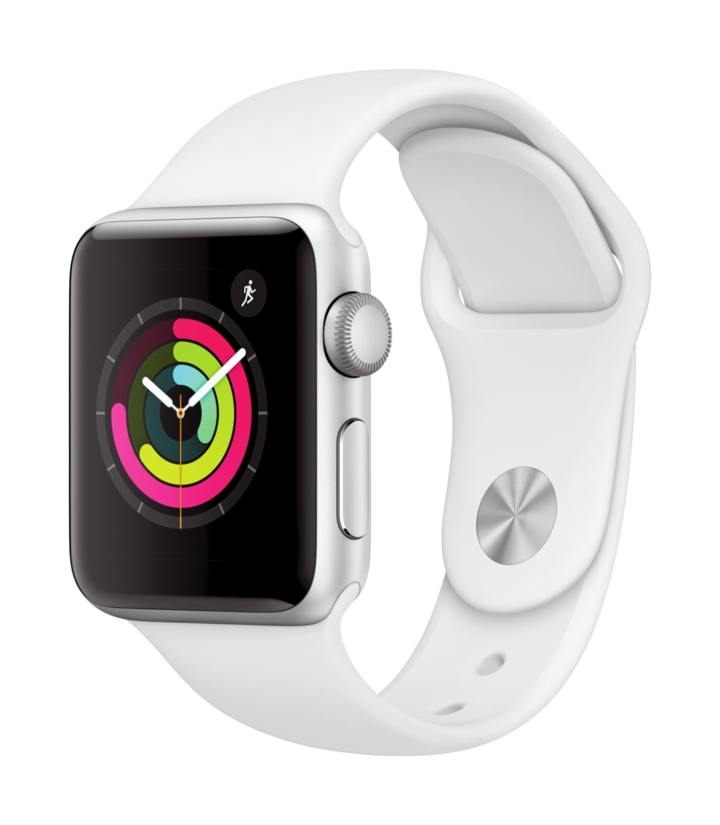 apple watch series 3 with a white sports band