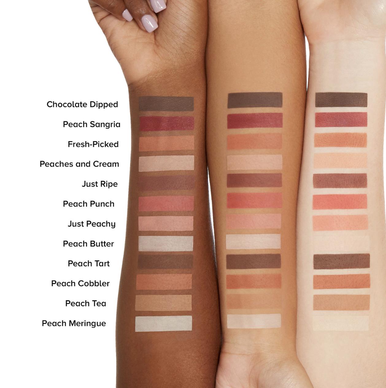 Swatches ranging from light pinks, medium pinks, and deep browns across light, medium,  and deep skin tones