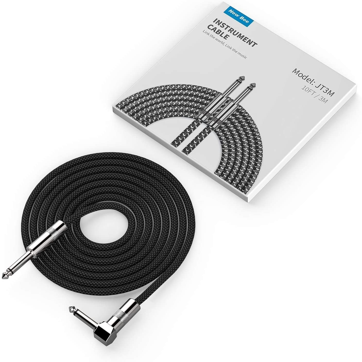The cable coiled up next to its packaging