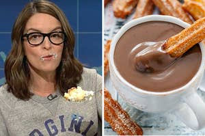 Tina Fey eating cake on the left and a churro dipped in chocolate on the right