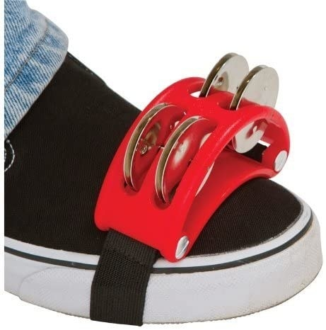 The foot tambourine strapped to Model's shoe
