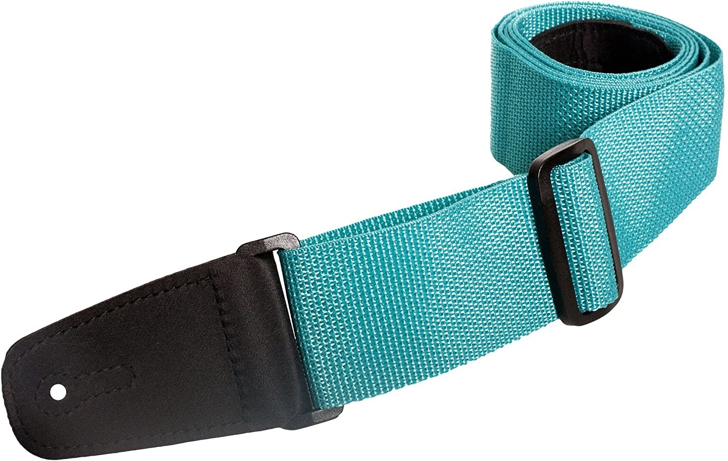 A closeup of the guitar strap in teal