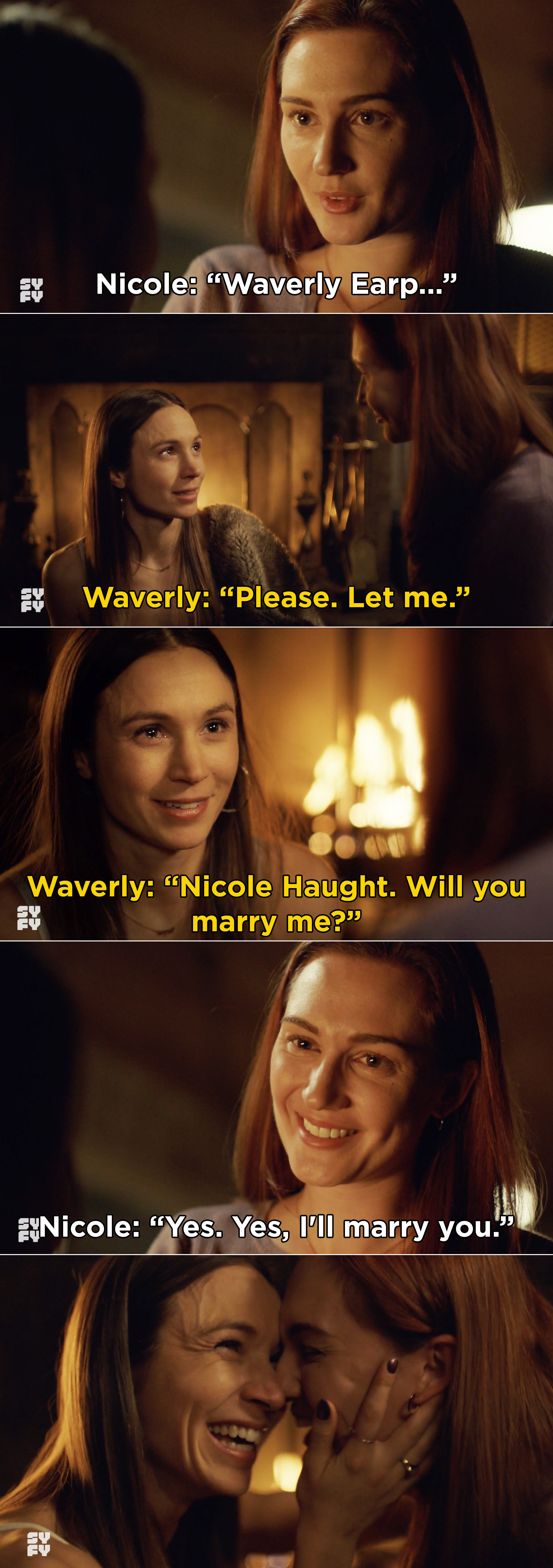 Nicole starting to propose, but Waverly interrupting and proposing instead