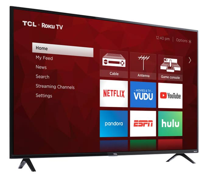 tcl roku tv showing the home page