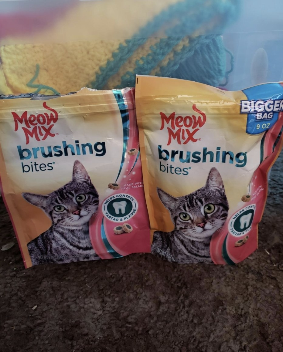 Two packages of brushing bites dental treats