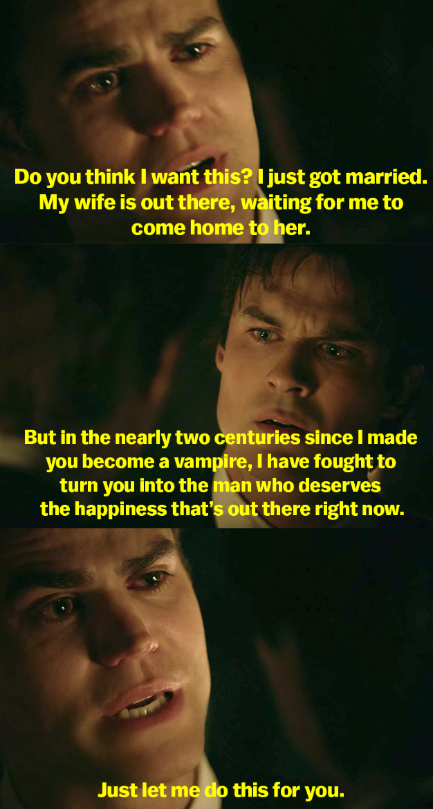Stefan says he's fought for almost 2 centuries to make Damon a man who deserves happiness, and Damon finally is