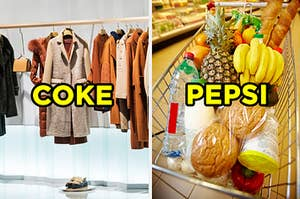 "On the left, a clothing rack with coats in a boutique labeled ""Coke,"" and on the right, a shopping cart full of breads, fruits, and veggies labeled ""Pepsi"""