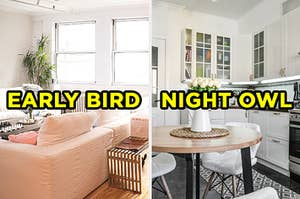 """On the left, a bright living room with a corner couch, a plant in the corning and an old-fahsioned radiator with """"early bird"""" typed on top, and on the right, a modern kitchen with wooden cabinets and tulips on the table with """"night owl"""" typed on top"""