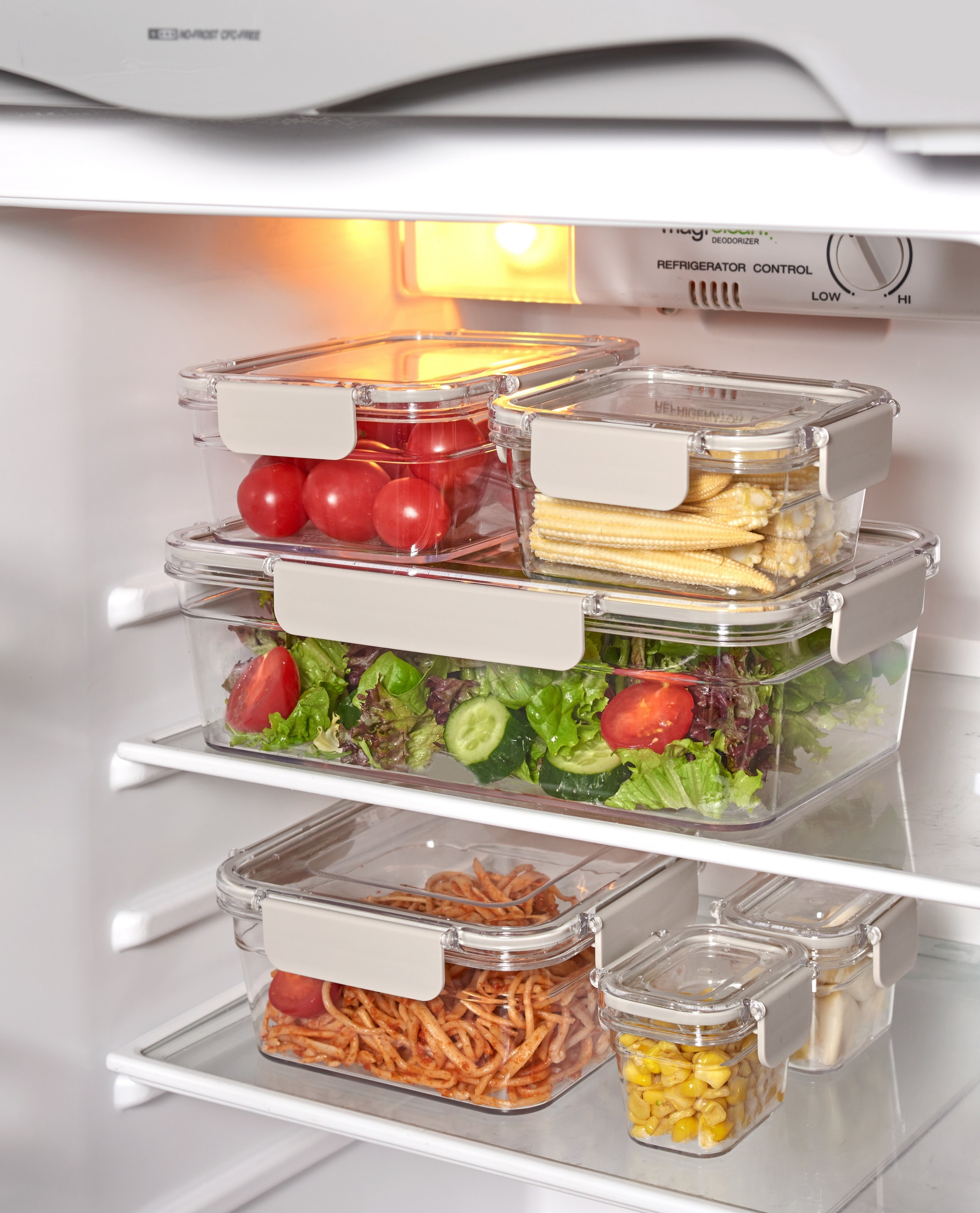 plastic food storage containers in a fridge
