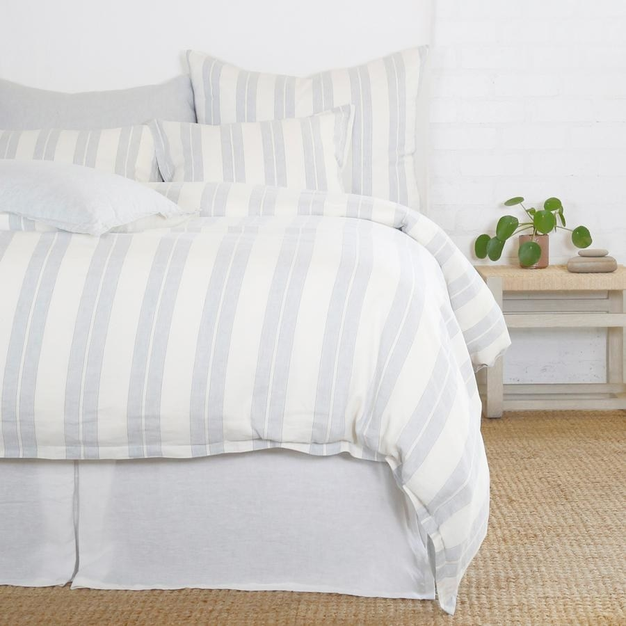 Blue and white striped bedding set