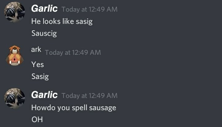 Text where someone can't spell sausage
