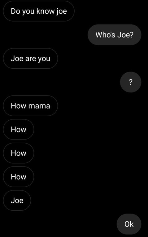 text where someone can't spell Joe