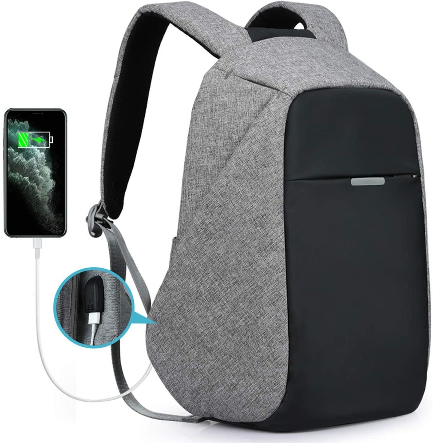 Anti-theft backpack with place to charge your phone