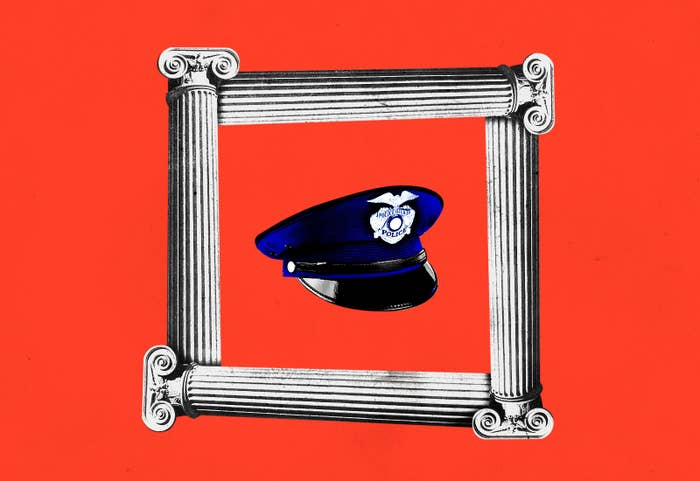A police hat is surrounded by 4 columns against a red background