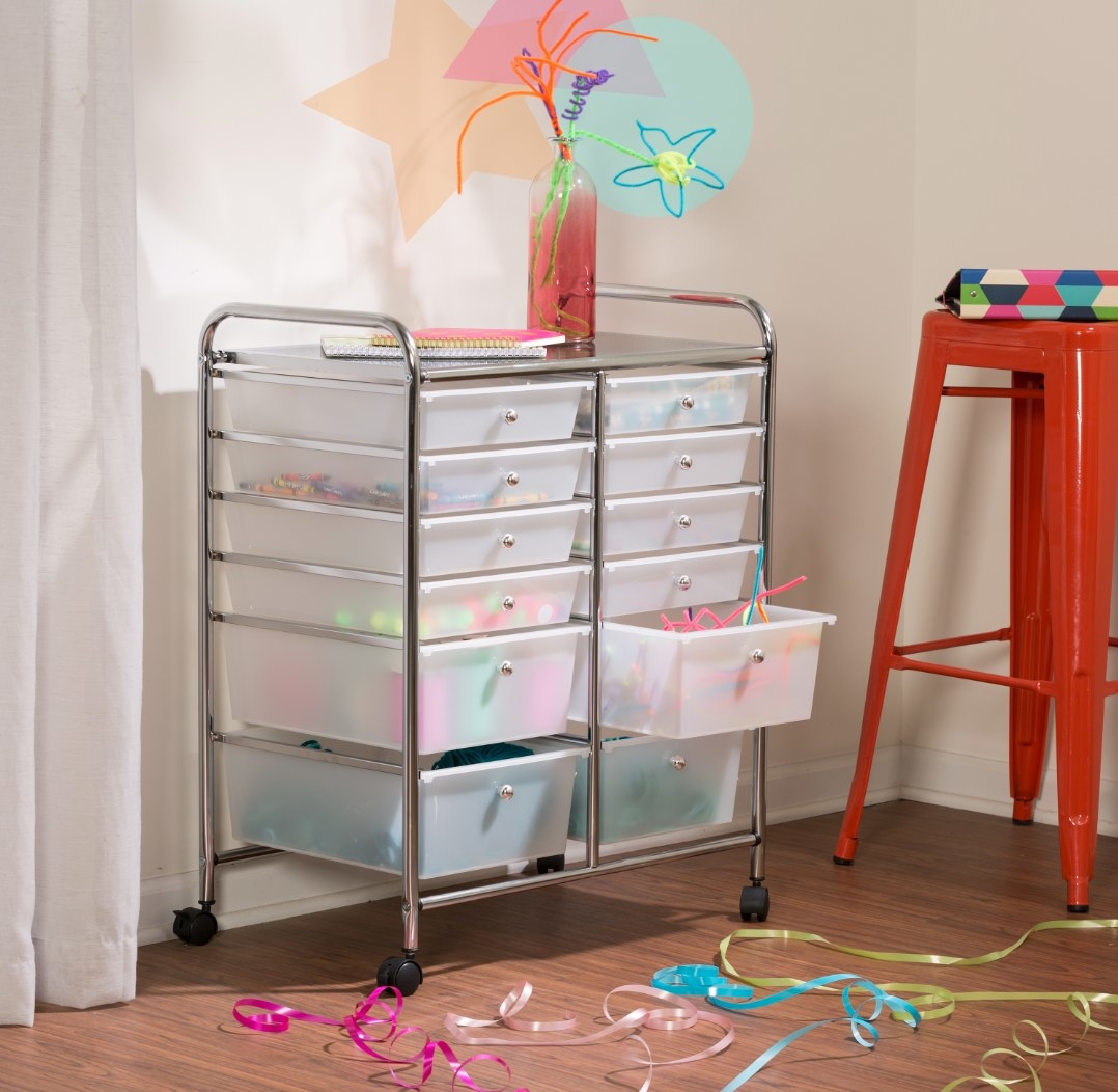 The storage cart being used to hold ribbons and other knick knacks