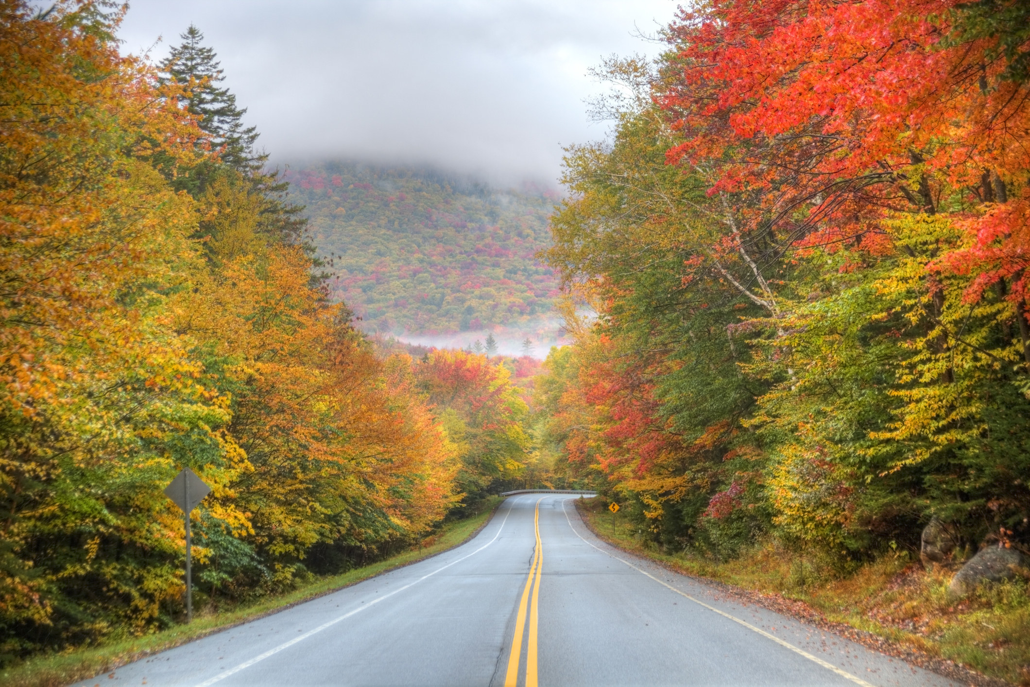 brightly colored fall foliage surrounds the highway
