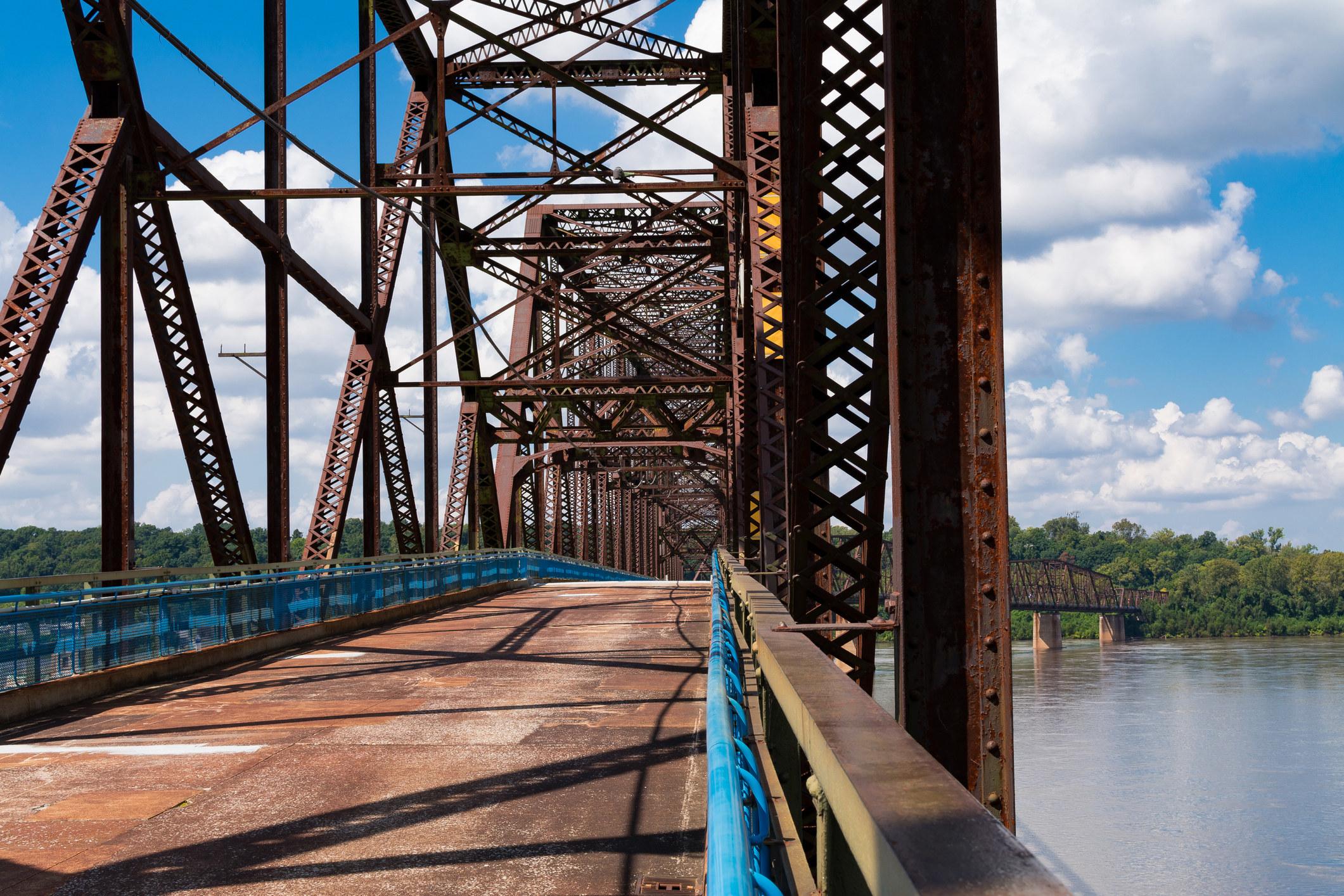 The Chain of Rocks Bridge on old Route 66 in Illinois/ Missouri