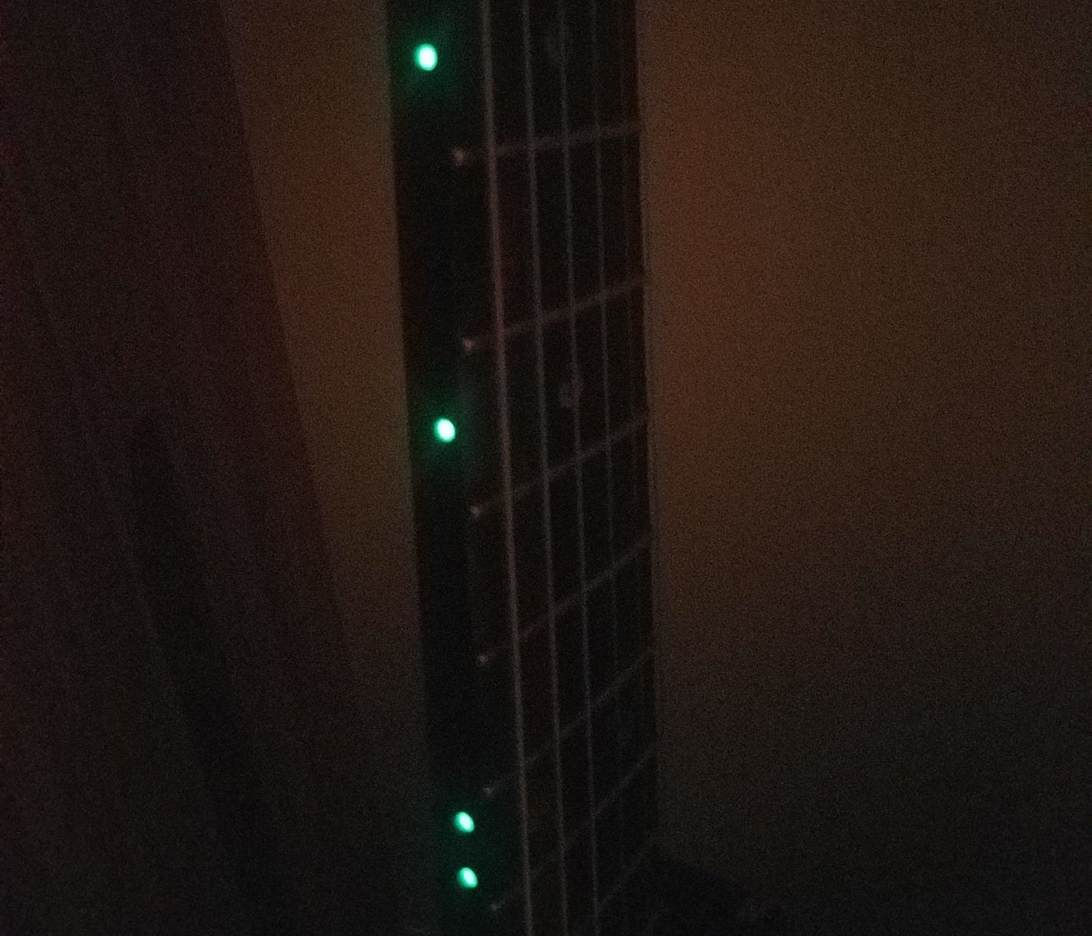 the fret markers glowing in the dark on a guitar neck