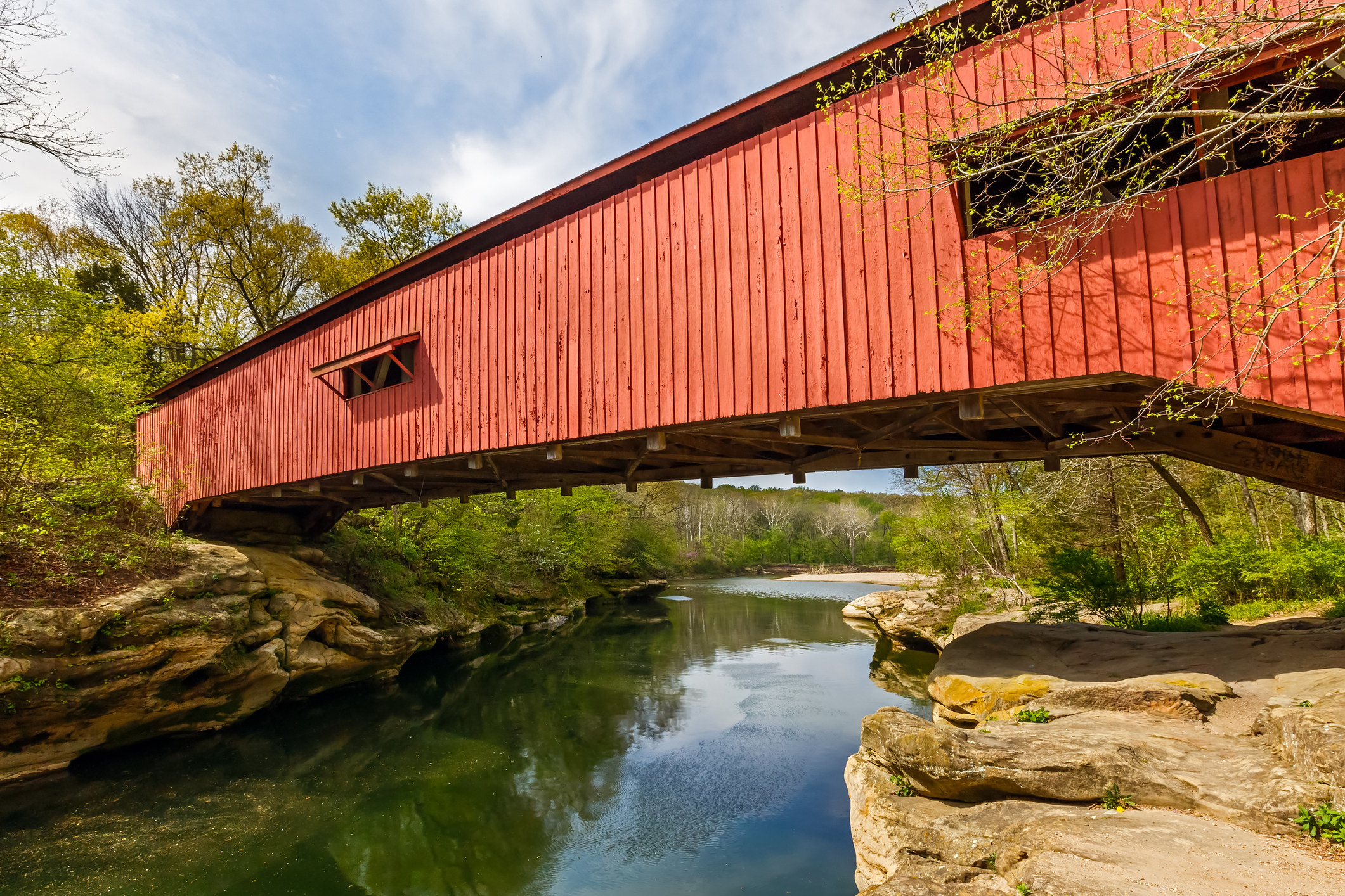 The Narrows Covered Bridge crosses Sugar Creek on the eastern edge of Parke County